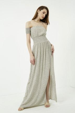 Vis a Vis Kadın Haki Omuzları Açık Yırtmaçlı Uzun Elbise