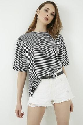 Vis a Vis Kadın Siyah Çizgili Yırtmaçlı Uzun Tshirt