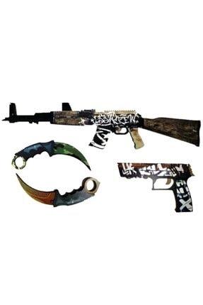 Hediyenealsak Ahşap CS-GO AK-47 Tüfek P250 Tabanca 2 li Karambit Oyuncak Set 2004
