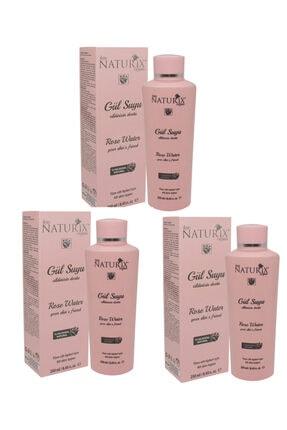 Naturix 3 Adet Tonik Etkili Onarıcı Cilt Sıkılaştırıcı Rose Water %100 Doğal 250 ml Cilt Besleyici Gül Suyu