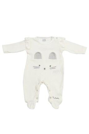 Pierre Cardin Baby Pierre Cardin Tavşanlı Kadife Bebek Tulumu Ekru