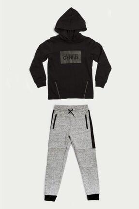 Wonder Kıds Wonder Kids Genç Erkek Siyah Kapüşonlu Sweatshirt Ve Eşofman Altı 2'li Takım Mk20aw8040