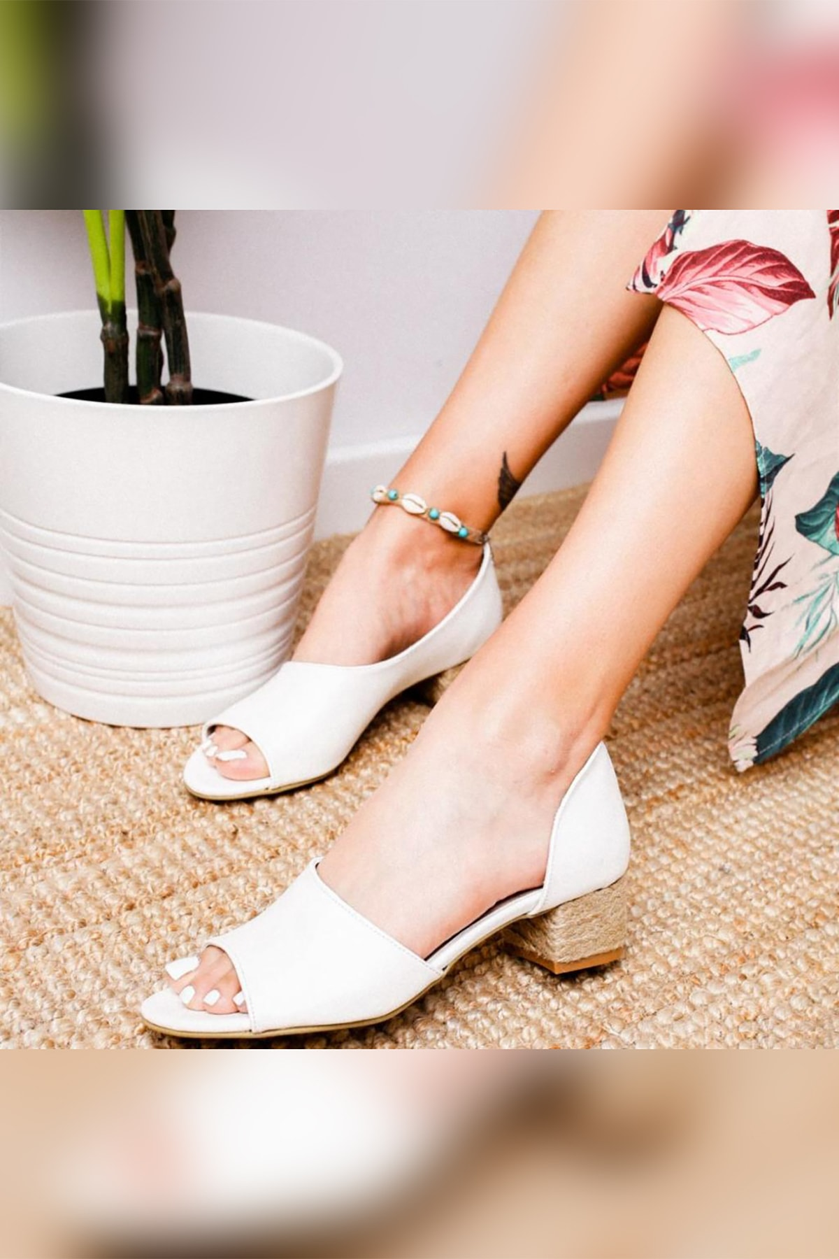 Limoya Kacie Beyaz Alçak Hasır Topuklu Sandalet 2