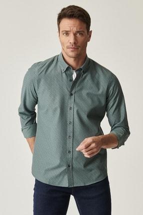 AC&Co / Altınyıldız Classics Erkek Yeşil Tailored Slim Fit Dar Kesim Italyan Yaka Baskılı Gömlek