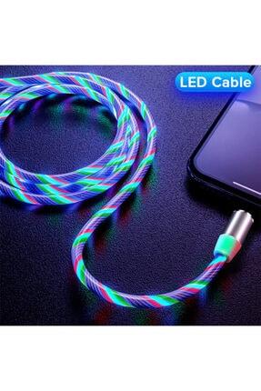 Elmas Type C Full Işıklı Hareketli Manyetik Mıknatıslı Şarj Aleti Sarj Kablosu Rbg Karışık Renkli