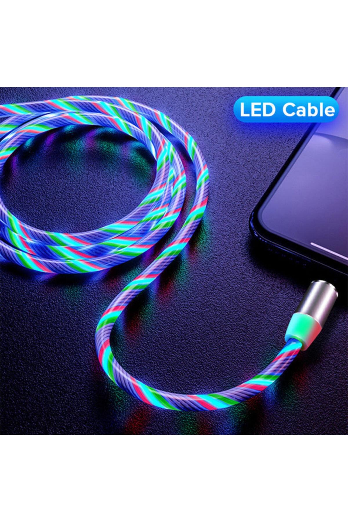 Elmas Type C Full Işıklı Hareketli Manyetik Mıknatıslı Şarj Aleti Sarj Kablosu Rbg Karışık Renkli 1