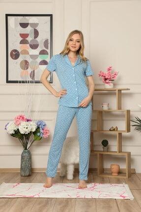 Çekmece Kadın  Düğmeli Puantiyeli Kısa Kol Pamuklu Pijama Takım