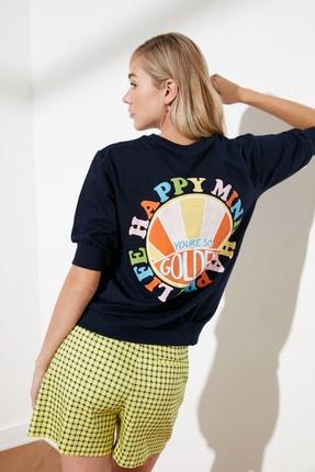 TRENDYOLMİLLA Lacivert Baskılı Örme Sweatshirt TWOSS21SW0222
