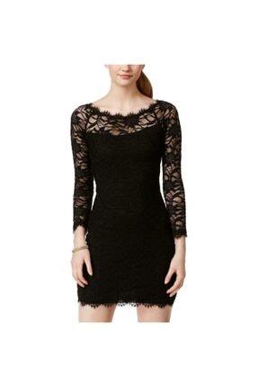 Jump Kadın Siyah Dantelli Uzun Kollu Parti Elbisesi