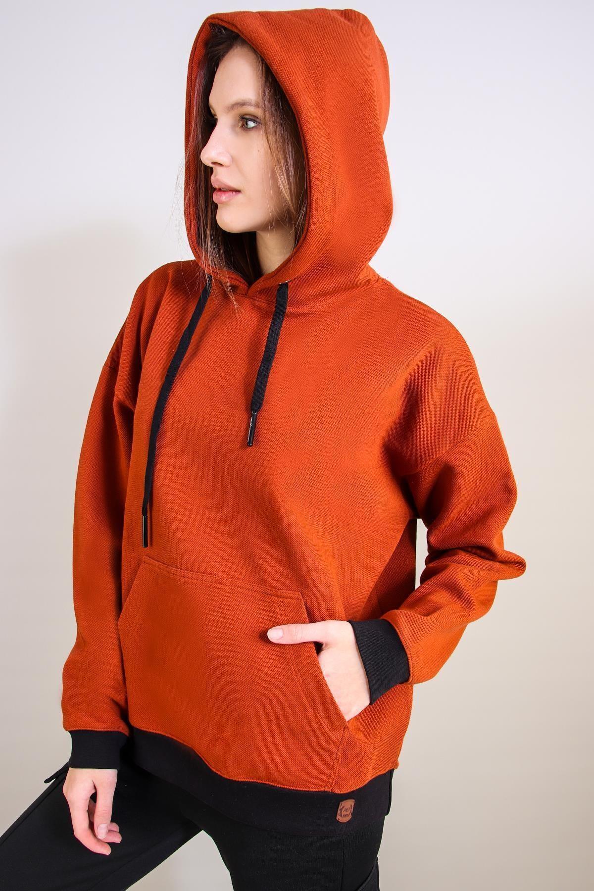 ALEXANDERGARDI Kapüşonlu Oversize Sweatshirt, Kiremit (un-50140) 2