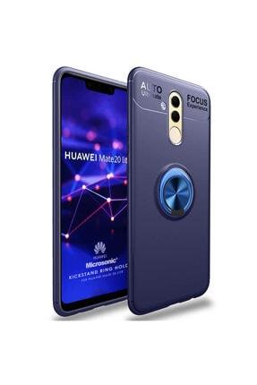 Huawei Microsonic Mate 20 Lite Kılıf Kickstand Ring Holder Lacivert