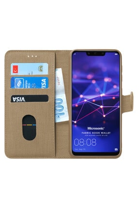Huawei Microsonic Mate 20 Lite Kılıf Fabric Book Wallet Gold