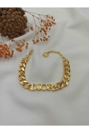 SHR ACCESSORIES & COLLECTIONS Dior Yazılı Kalın Zincir Bileklik Gold