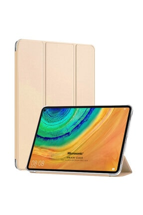 Huawei Microsonic Matepad 10.4'' Kılıf Slim Translucent Back Smart Cover Gold