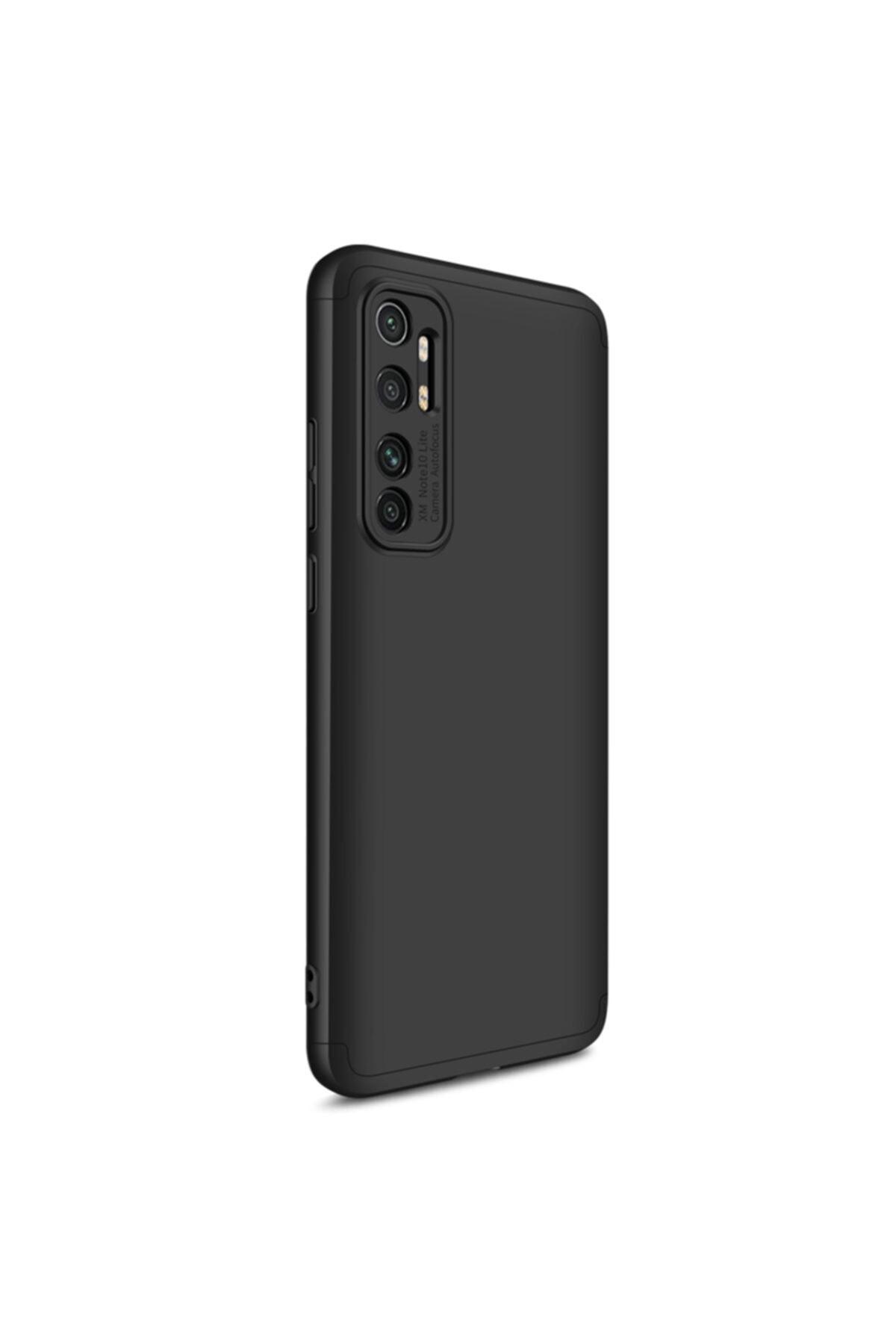Xiaomi Microsonic Mi Note 10 Lite Kılıf Double Dip 360 Protective Siyah 2