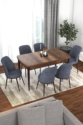 Canisa Concept Via Serisi Barok Açılabilir Mutfak Masası Takımı-yemek Masası Takımı-masa+6 Adet Füme Sandalye