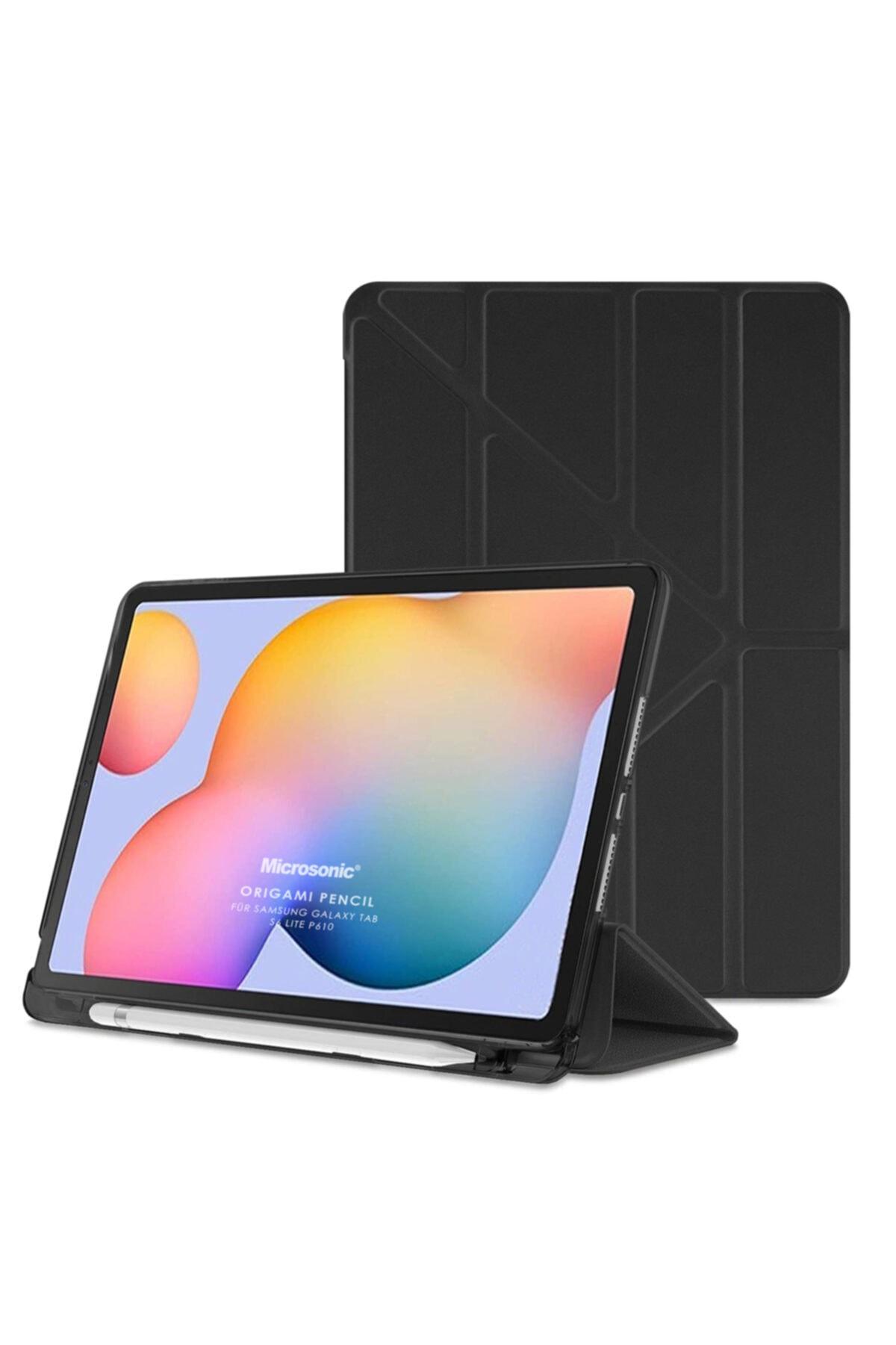 "Samsung Microsonic Galaxy Tab S6 Lite 10.4"" P610 Kılıf Origami Pencil Siyah 1"