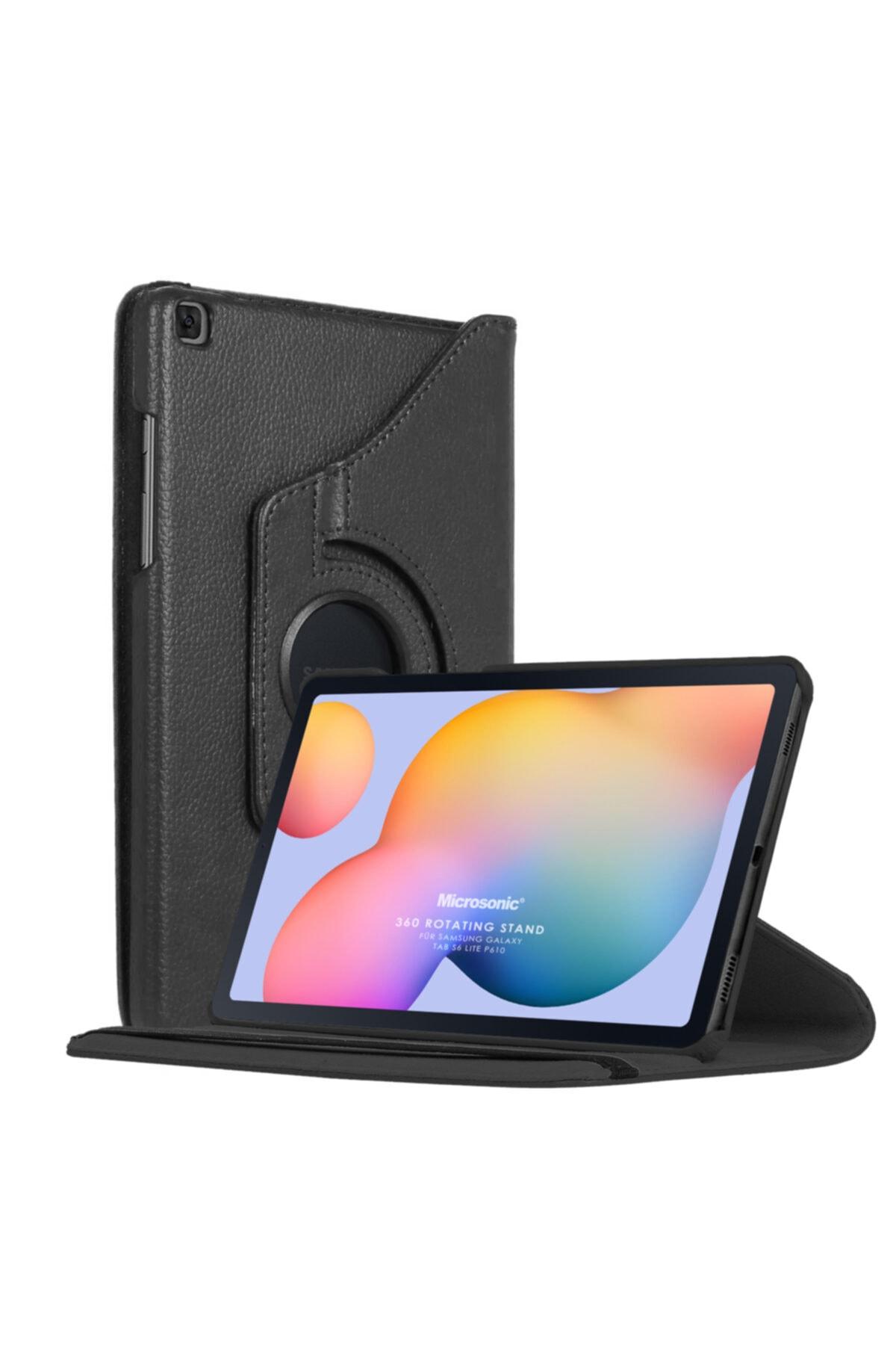 "Samsung Microsonic Galaxy Tab S6 Lite 10.4"" P610 Kılıf 360 Rotating Stand Deri Siyah 1"