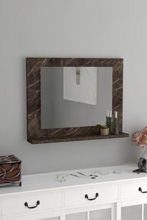 bluecape Kahve Mermer 60x45 Raflı Banyo Dolabı Wc Ofis Çocuk Yatak Odası Bahçe Lavabo Aynası