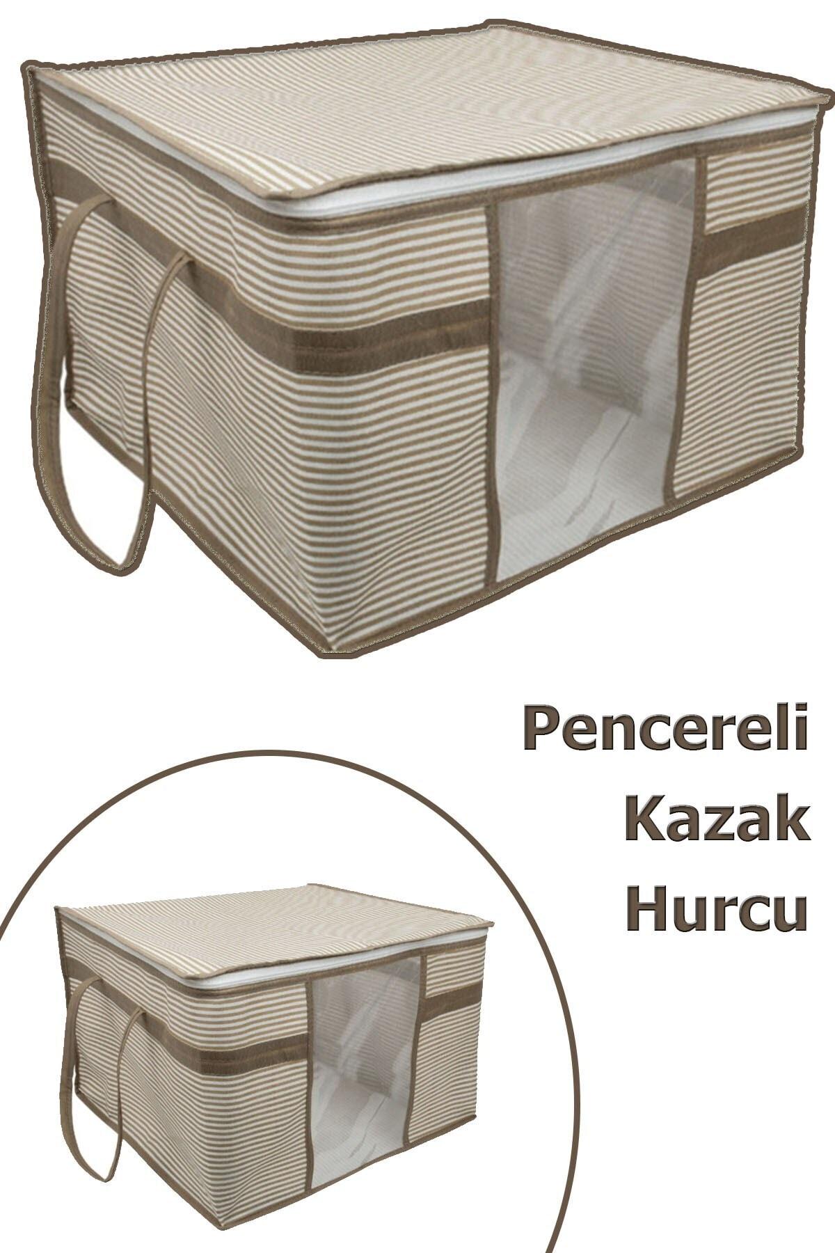 Vivyan 3 Adet Pencereli Kazak Hurcu Sandık Tipi Çok Amaçlı Saklama Çantası 45 X 40 X 30 Cm - Krengi Çizgili 1