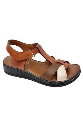 PUNTO 015 Ortopedik Deri Cırtlı Kadın Sandalet