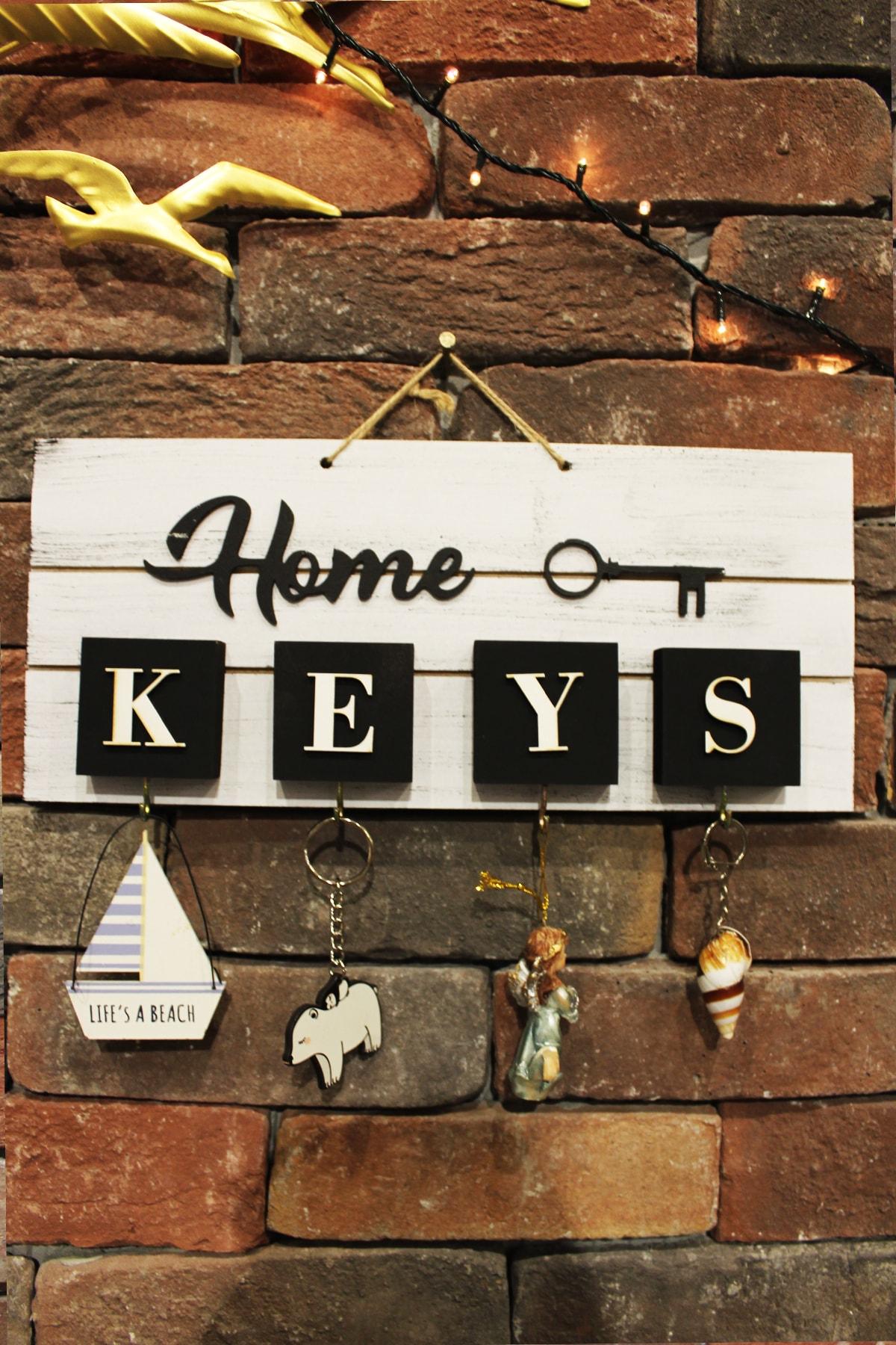 AKL DESIGN Home El Yapımı Ahşap Anahtarlık, Askısı Pano Anahtarlık 1