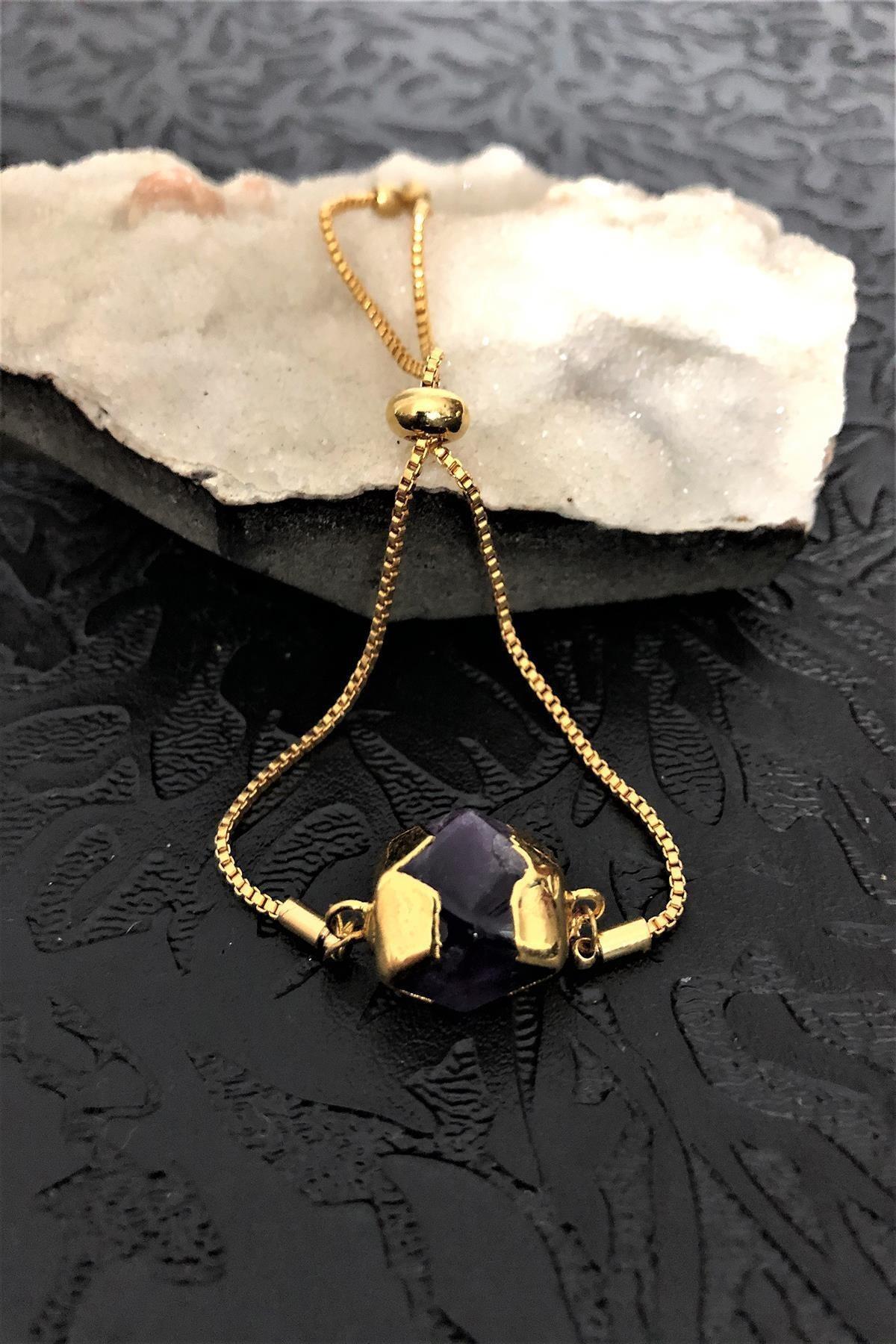 Dr. Stone Dr Stone Golden Ametist Taşı 22k Altın Kaplama El Yapımı Kadın Bileklik Tkrb24 1