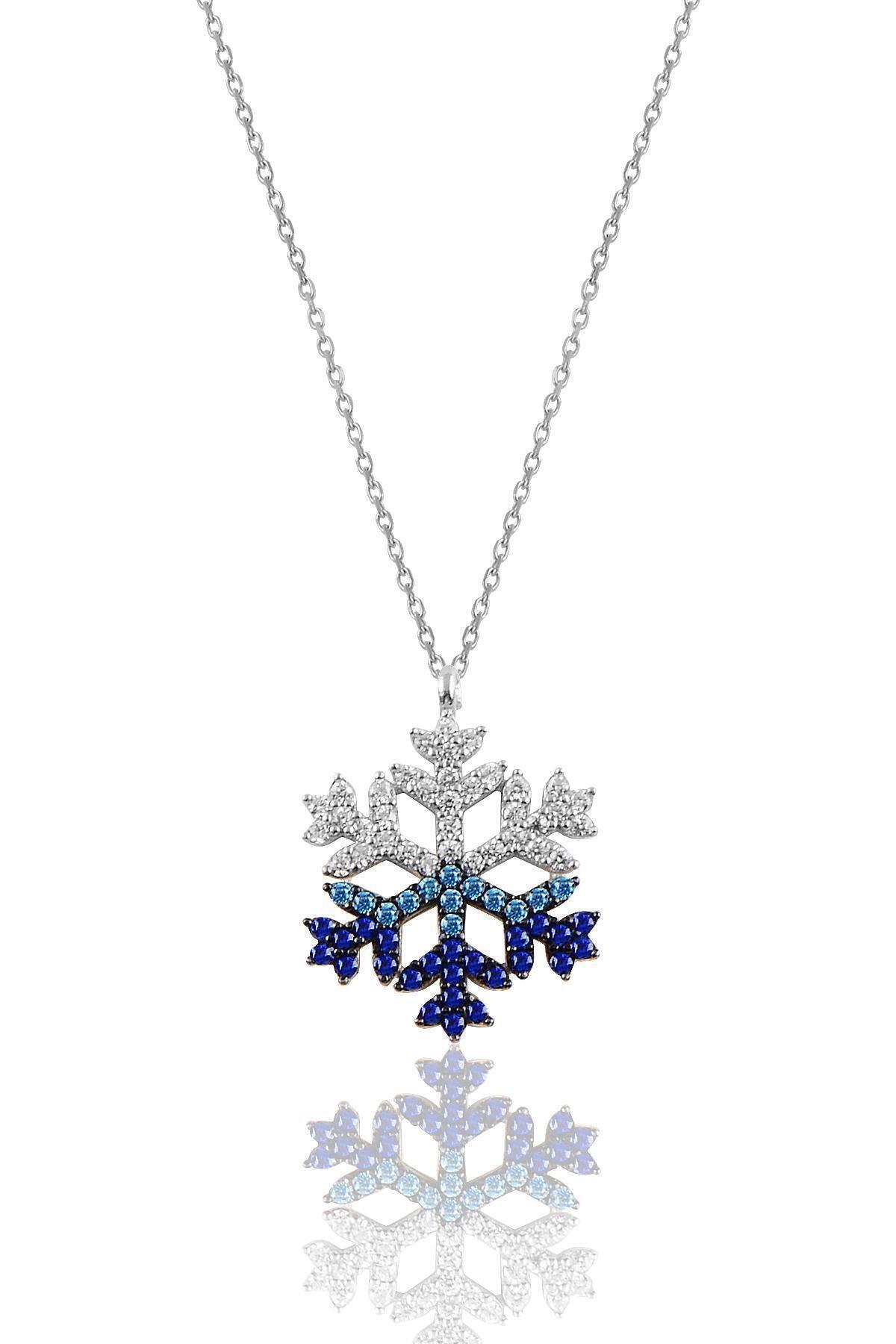 Söğütlü Silver Gümüş Rodyumlu Renkli Taşlı Kar Tanesi Kolye 1
