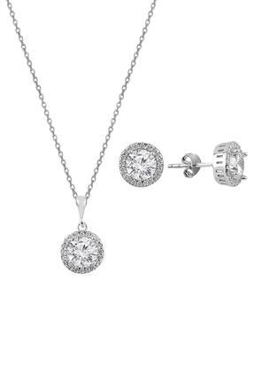 Söğütlü Silver Gümüş Zirkon Taşlı Yuvarlak Pırlanta Montürlü Gümüş Ikili Set