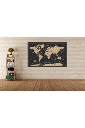 Zeta Aks Dünya Haritası Altın Detaylı Tek Parça %100 Cotton Canvas Tablo