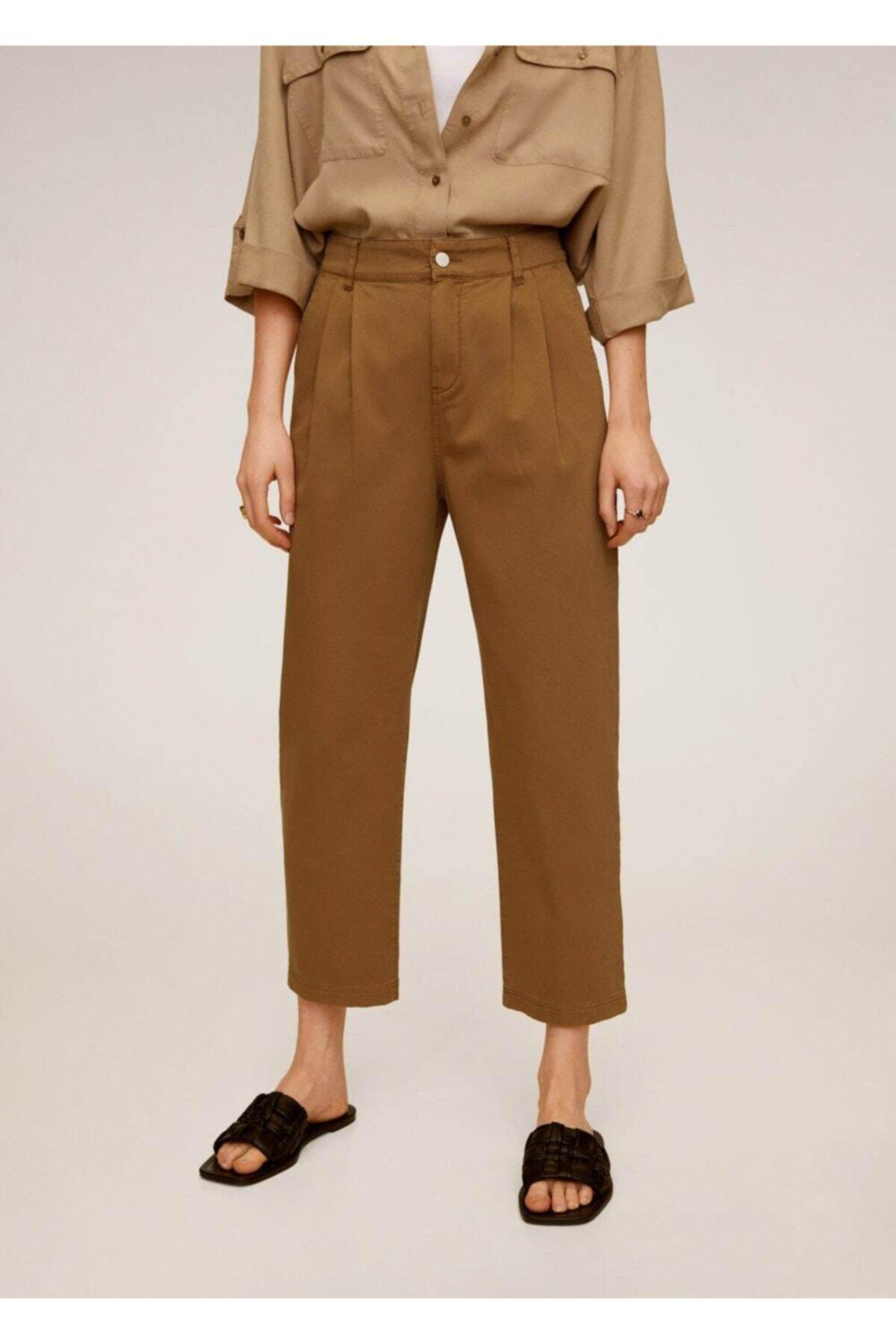 MANGO Woman Kadın Orta Kahverengi Rahat Koton Pantolon 67037664 1