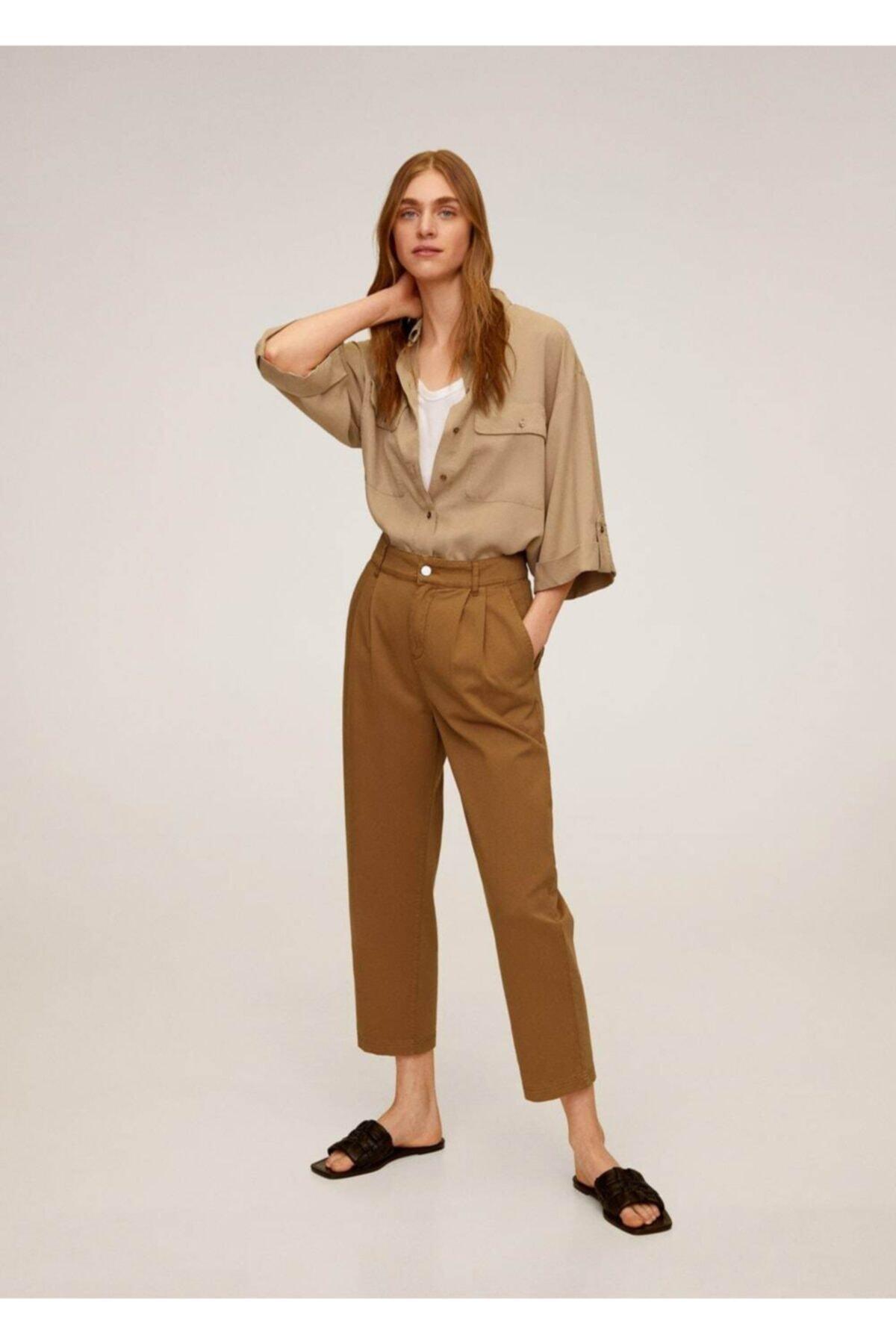 MANGO Woman Kadın Orta Kahverengi Rahat Koton Pantolon 67037664 2