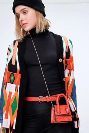Trend Alaçatı Stili Kadın Kırmızı Kemerli Petit Çanta ALC-A2117