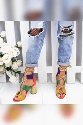 Limoya Kennedy Portakal Yeşil Mor Limon Hasır Topuklu Ayakkabı