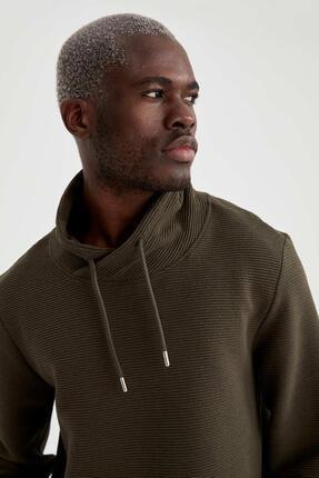 DeFacto Erkek Haki Şal Yaka Slim Fit Basic Sweatshirt