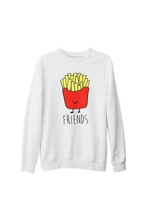 Lord T-Shirt Unisex Beyaz Best Friends  Patates Kalın Sweatshirt