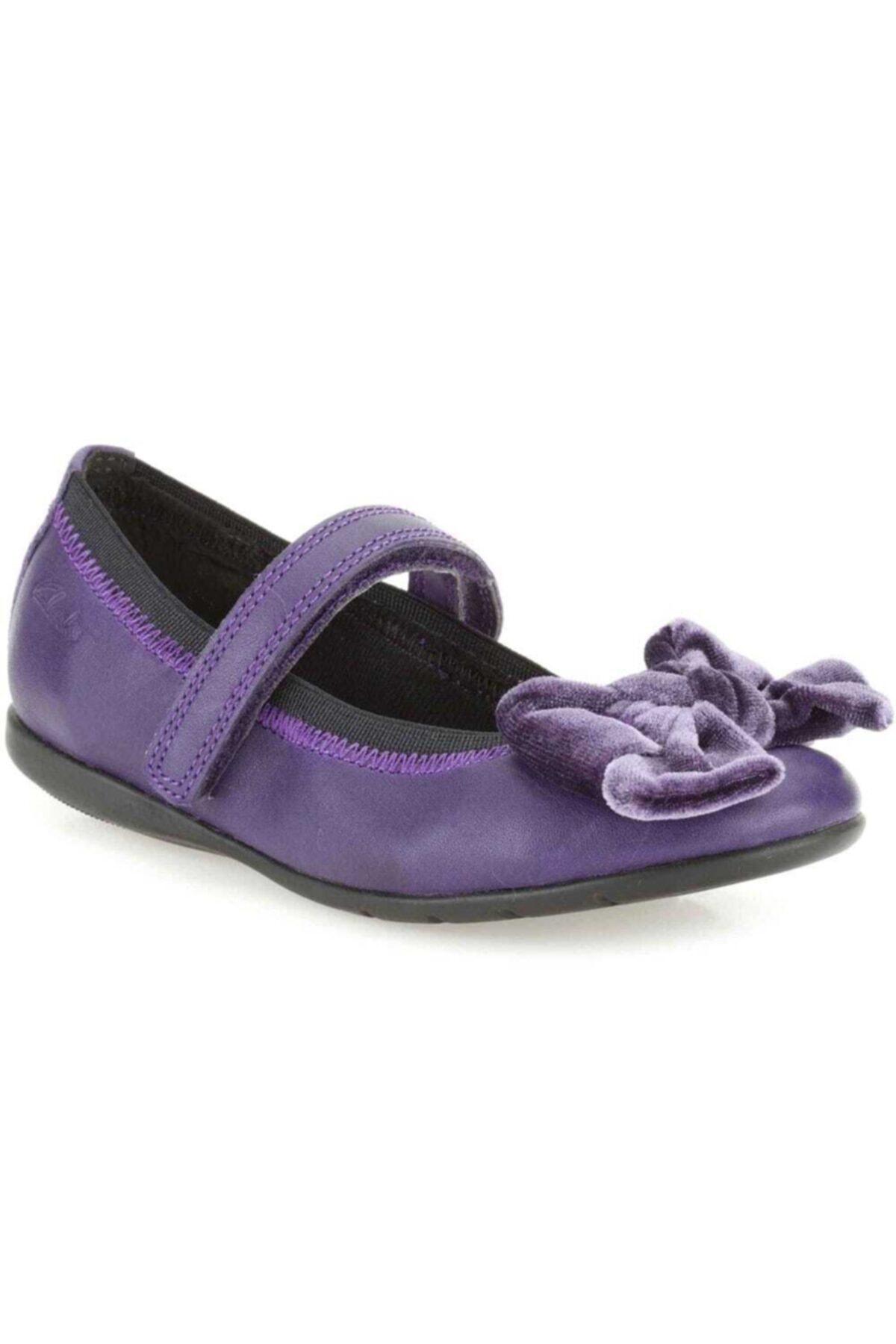 CLARKS Kız Çocuk Mor Rahat Bale Tarzı Ayakkabı 1