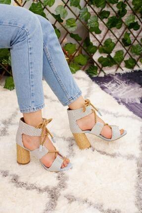 Limoya Kadın Beyaz Puanlı Hasır Topuklu Ayakkabı