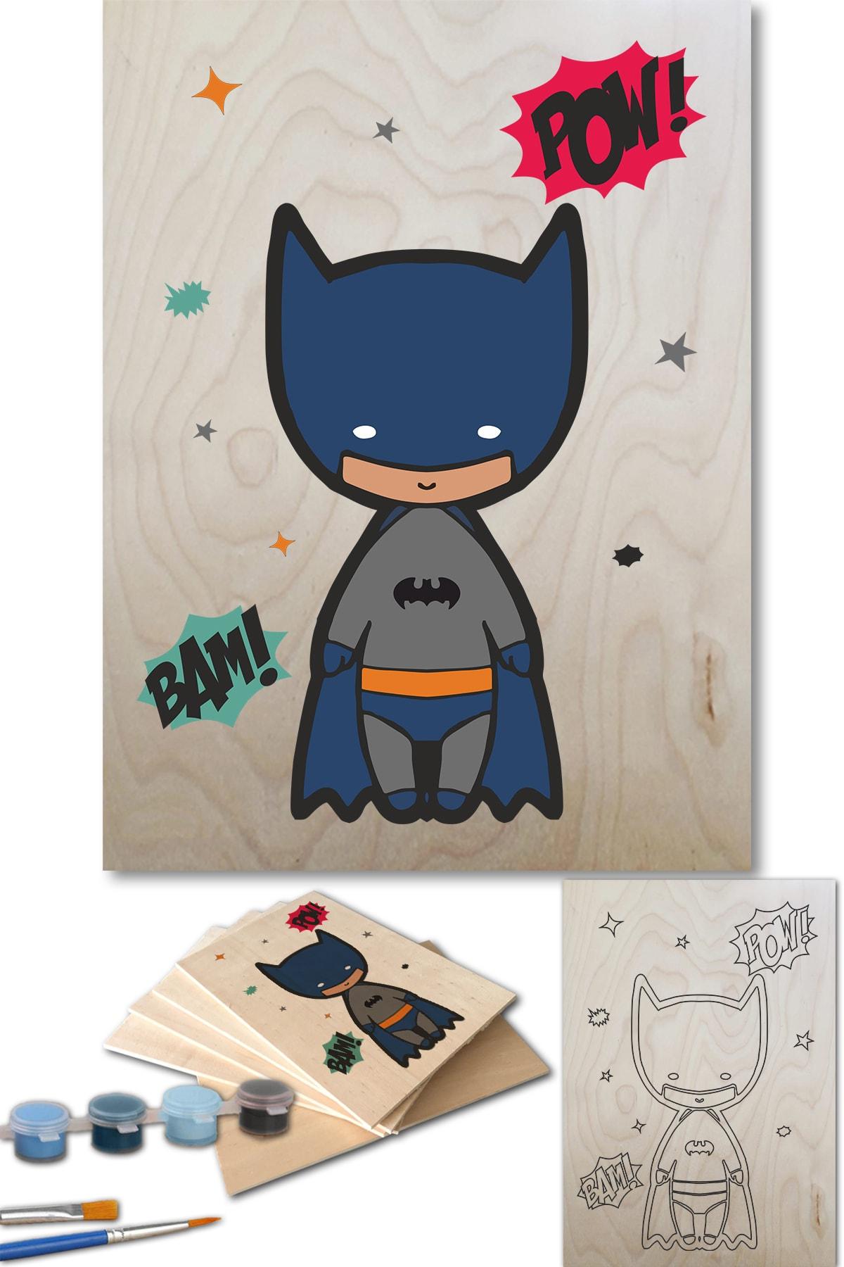 Lapis Home Decor Batman Sayılarla Boyama Seti 35x50 Cm Ahşap Tablo 1