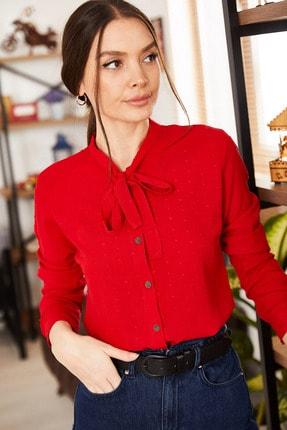 armonika Kadın Kırmızı Yakası Bağlamalı Desenli Gömlek ARM-20K001150