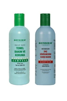 Novocrin Placenta Saç Dökülmesine Karşı Bakım Şampuanı & Günlük Bakım Şampuanı 300 Ml 2 Li Paket