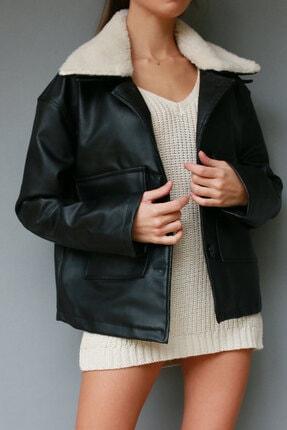 VOHOSHOP Kadın Siyah Kürk Yaka Deri Ceket