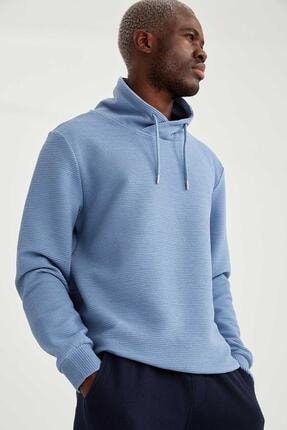 DeFacto Erkek Şal Yaka Slim Fit Basic Sweatshirt