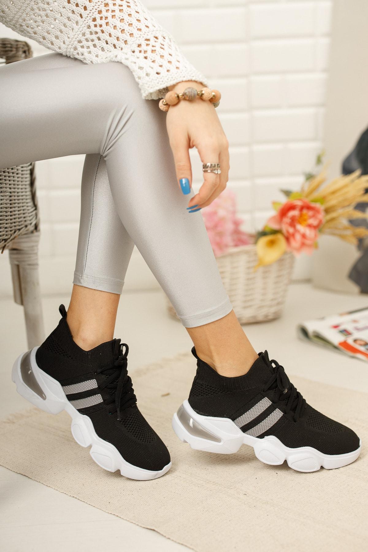meyra'nın ayakkabıları Kadın Siyah Triko Sneakar 1