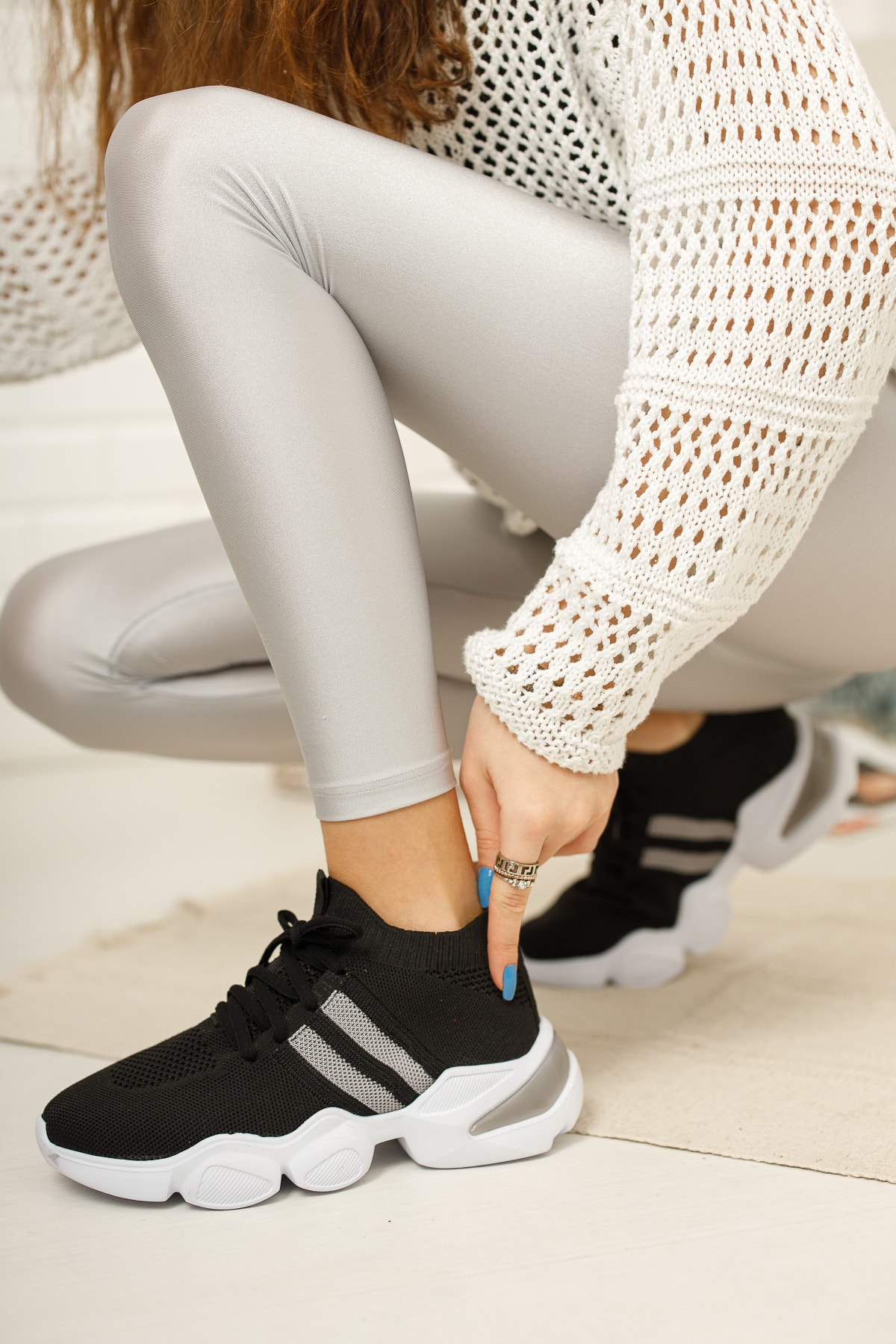 meyra'nın ayakkabıları Kadın Siyah Triko Sneakar 2