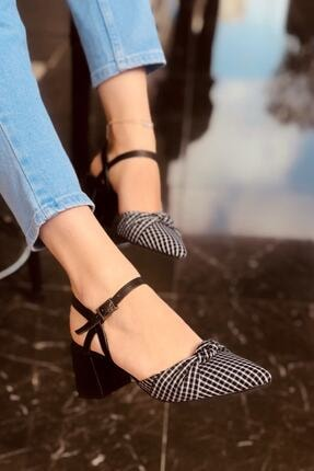 haykmar Kadın Mila Siyah Mat Ekose Topuklu Ayakkabı
