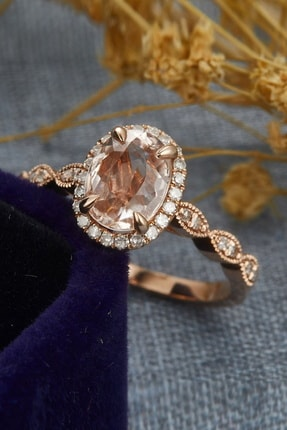 My Diamond Oval Morganit Ve Pırlanta Vintage Yüzük 14k Rose Gold