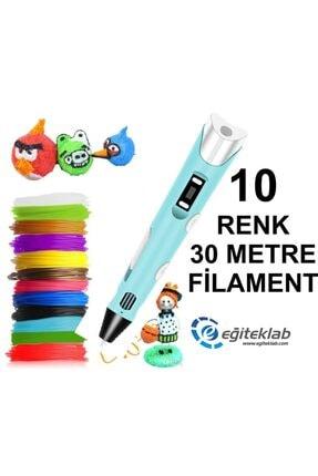 3D Mavi Kalem Yazıcı+10 Renk 30 Metre (10x3metre) Pla Filament