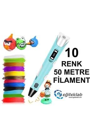 3D Mavi Kalem Yazıcı+10 Renk 50 Metre (10x5metre) Pla Filament