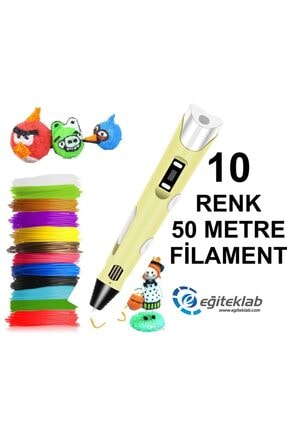 3D Sarı Kalem Yazıcı+10 Renk 50 Metre (10x5metre) Pla Filament